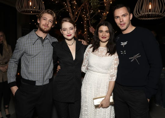 "Joe's crew this awards season includes his ""Favourite"" co-stars Emma Stone, Rachel Weisz and Nicholas Hoult."
