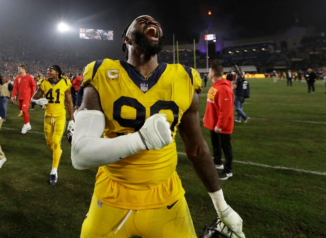 Los Angeles Rams defensive end Michael Brockers celebrates after the Rams beat the Kansas City Chiefs 54-51 in an NFL football game, Monday, Nov. 19, 2018, in Los Angeles.
