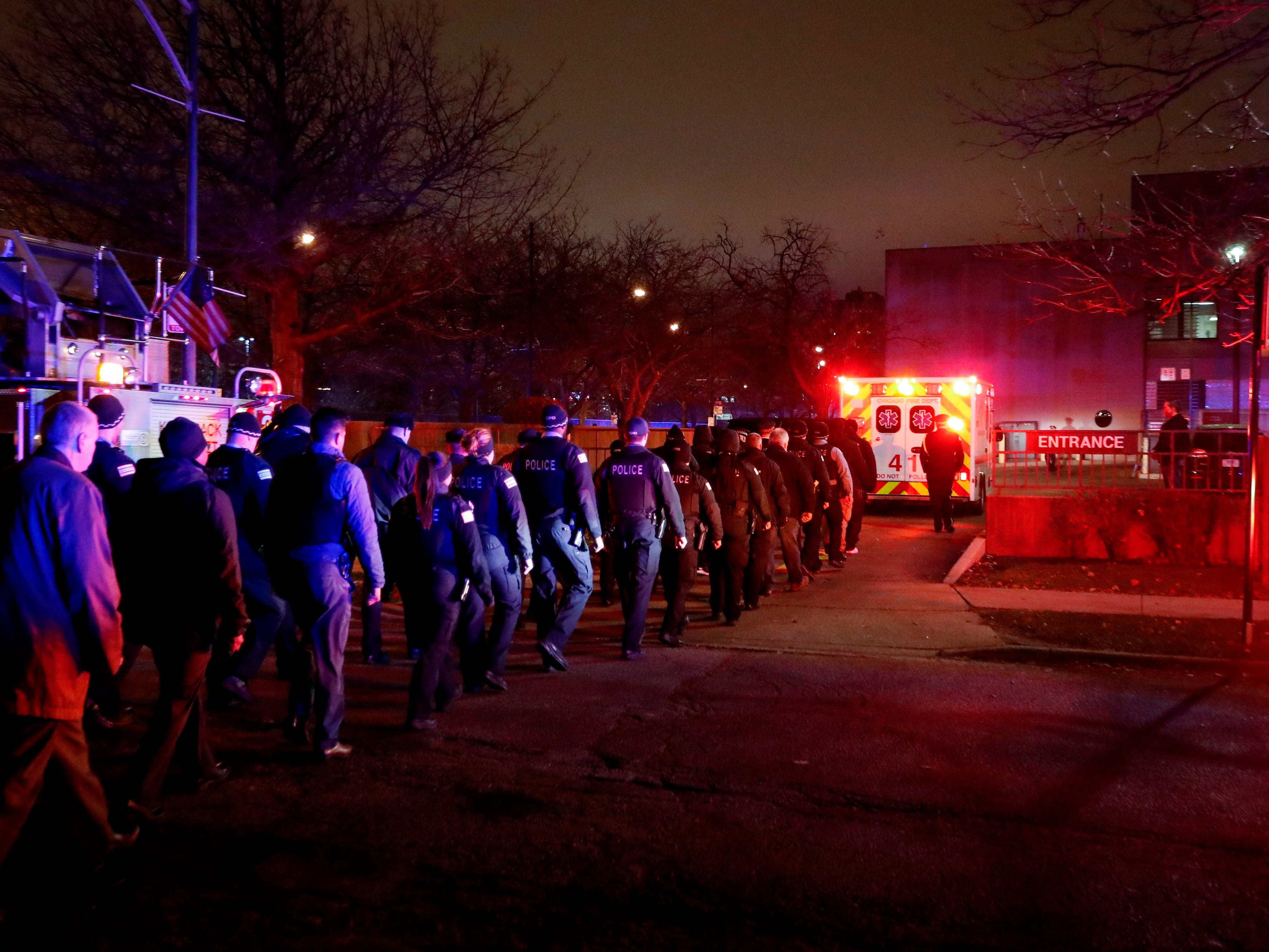 The body of slain Chicago police officer Samuel Jimenez  is escorted to the Medical ExaminerÕs office on Nov. 19, 2018 in Chicago.