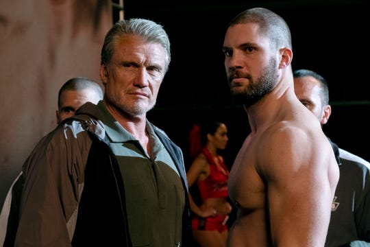 "Ivan Drago (Dolph Lundgren, left) and son Viktor (Florian Munteanu) are on a quest for revenge in ""Creed II."""