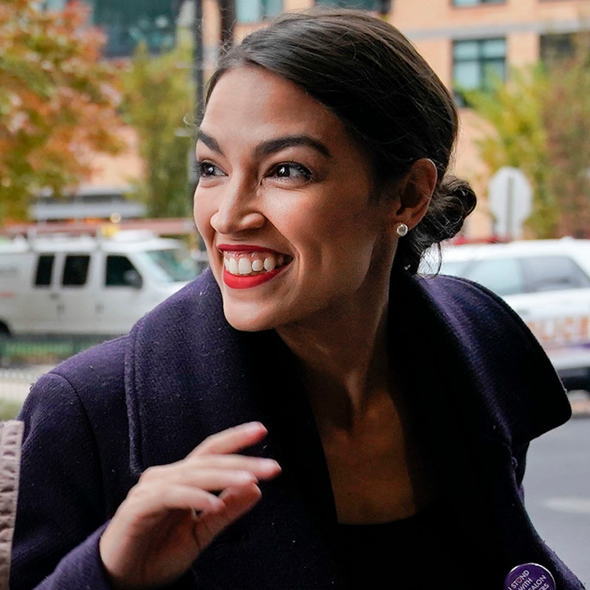 Rep.-elect Alexandria Ocasio-Cortez, D-NY., arrives for orientation for new members of Congress, Nov. 13, 2018, in Washington.