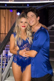 Witney Carson and Milo Manheim were all smiles after their dancing.