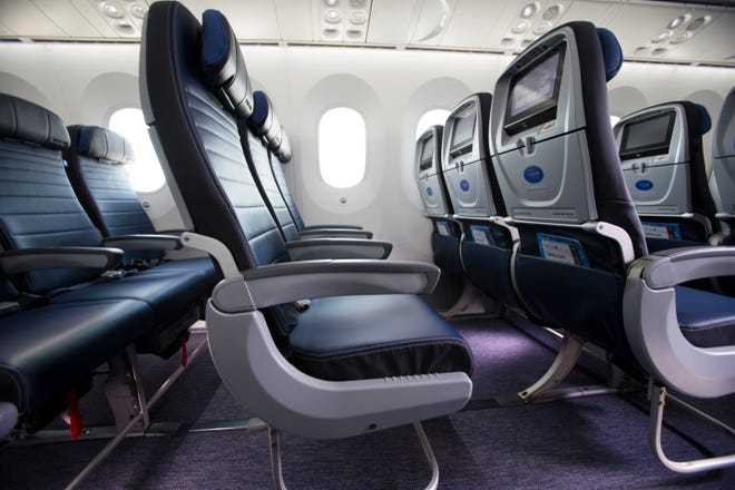 United Airlines seats.