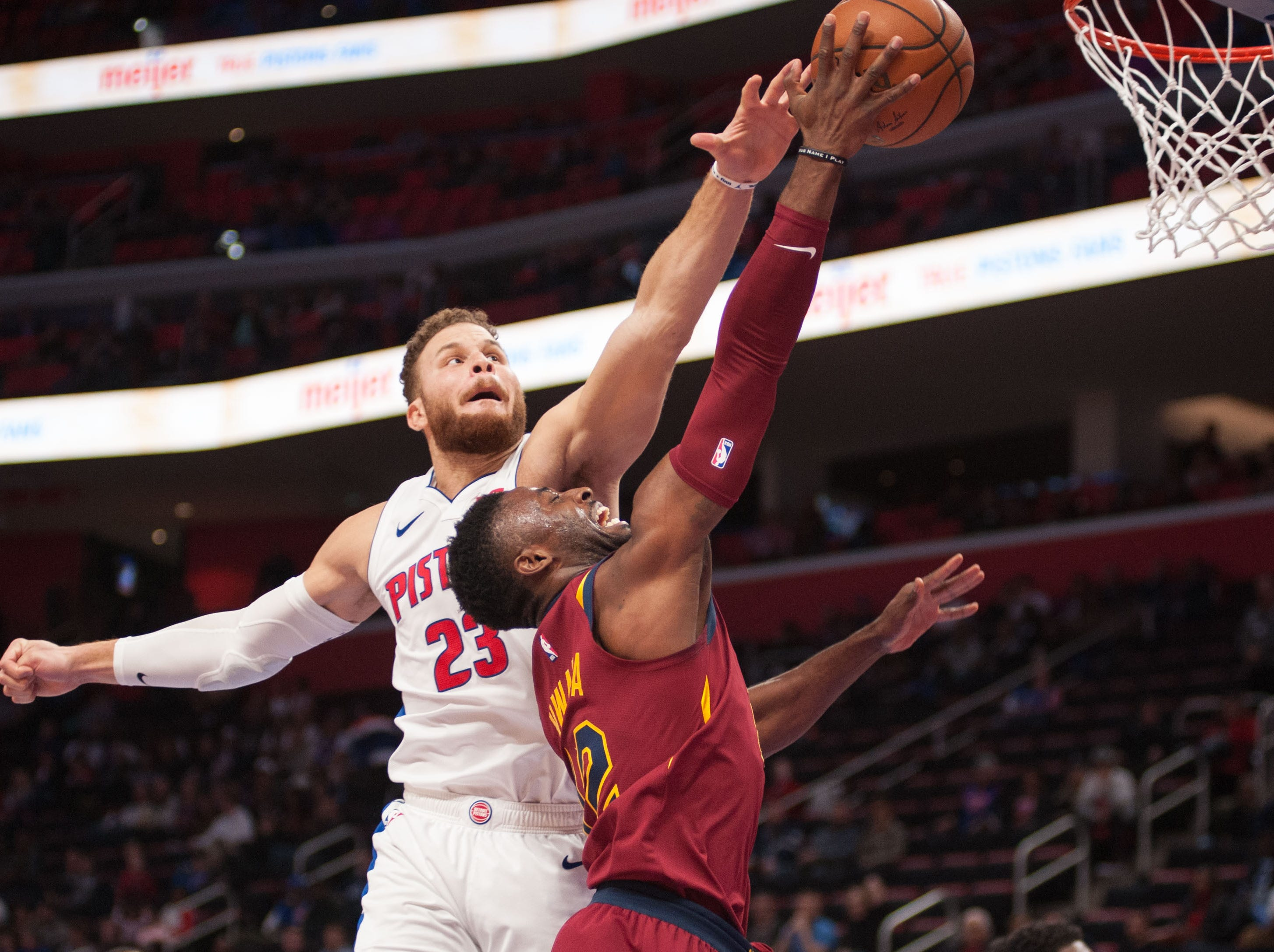 Nov. 19: Detroit Pistons forward Blake Griffin (23) fouls Cleveland Cavaliers guard David Nwaba (12) during the fourth quarter at Little Caesars Arena.