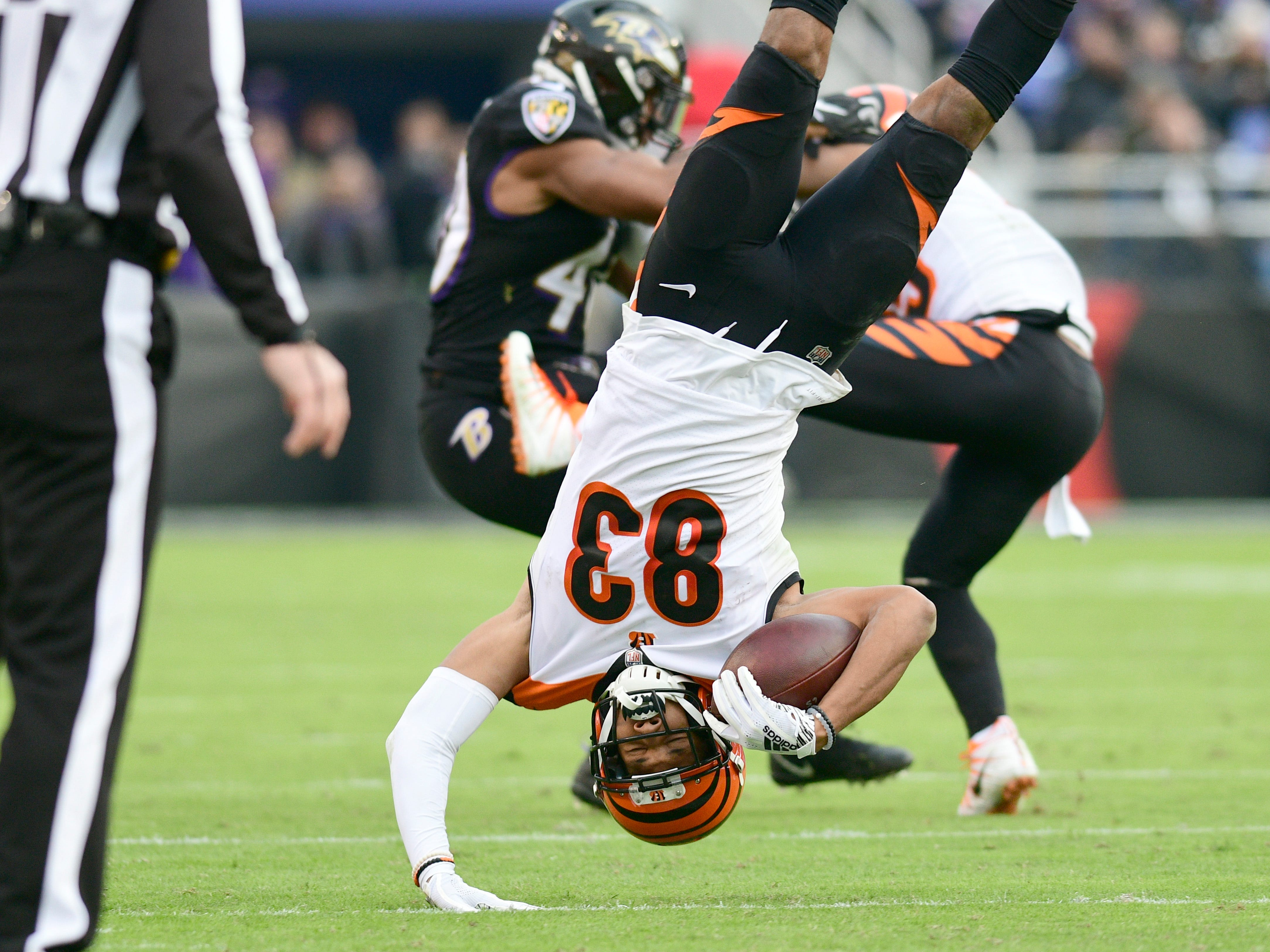 Week 11: Cincinnati Bengals wide receiver Tyler Boyd lands after a reception against the Baltimore Ravens  at M&T Bank Stadium. The Ravens won the game, 24-21.