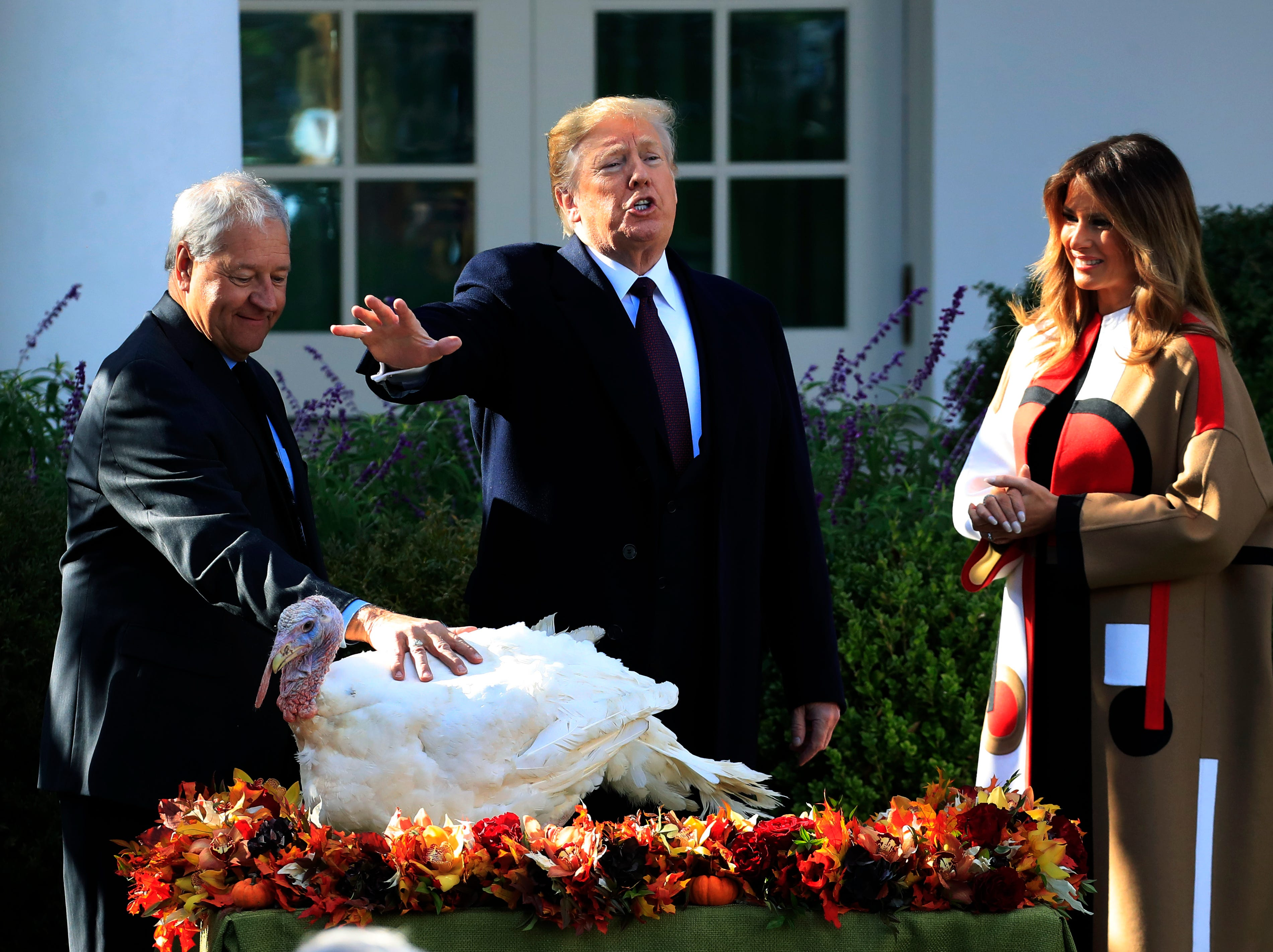 "President Donald Trump with first lady Melania Trump, right, gives ""Peas"", one of the National Thanksgiving Turkeys, an absolute pardon during a ceremony in the Rose Garden of the White House, in Washington, Tuesday, Nov. 20, 2018."