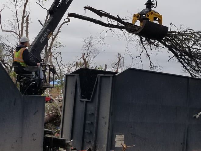 Lukas Schmidt  of Neenah helps clean up after Hurricane Michael in the Florida Panhandle. He's part of the DTAK crew out of New London.