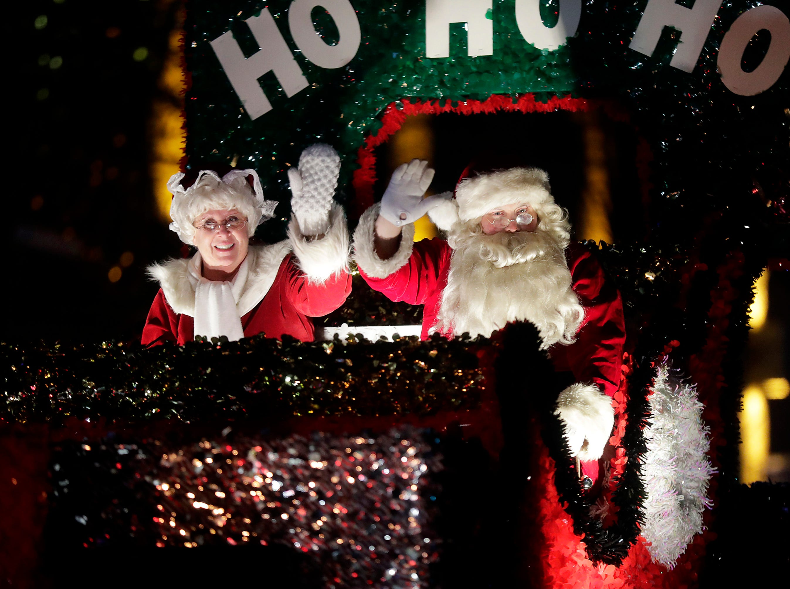 """Santa and Mrs. Claus make an apperance during the 48th Annual Downtown Appleton Christmas Parade on Tuesday, Nov. 20, 2018 in Appleton, Wis. This year's theme was """"Home for the Holidays."""" Wm. Glasheen/USA TODAY NETWORK-Wisconsin."""