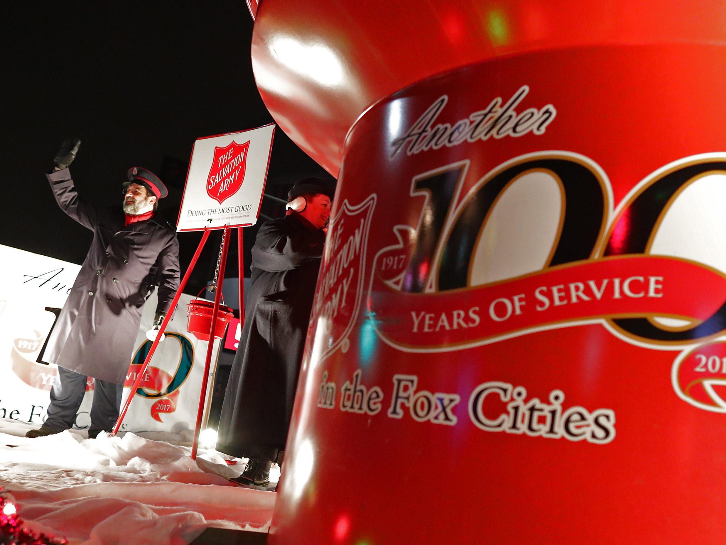 """The Salvation Army float during the 48th Annual Downtown Appleton Christmas Parade on Tuesday, Nov. 20, 2018 in Appleton, Wis. This year's theme was """"Home for the Holidays."""" Wm. Glasheen/USA TODAY NETWORK-Wisconsin."""
