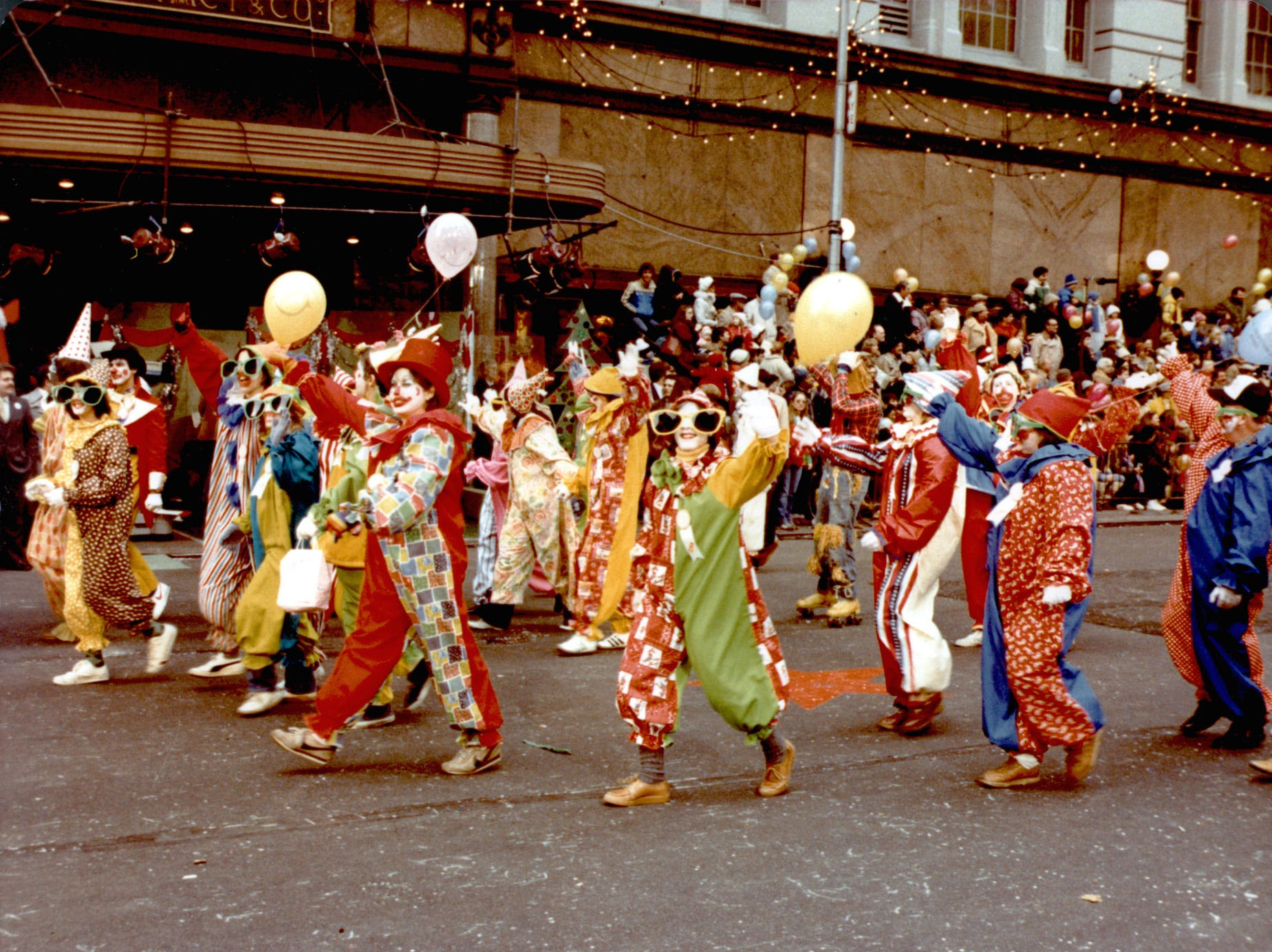 Volunteer clowns  in the 1979 Macy's Thanksgiving parade. (Gannett News Service/Macy's New York)