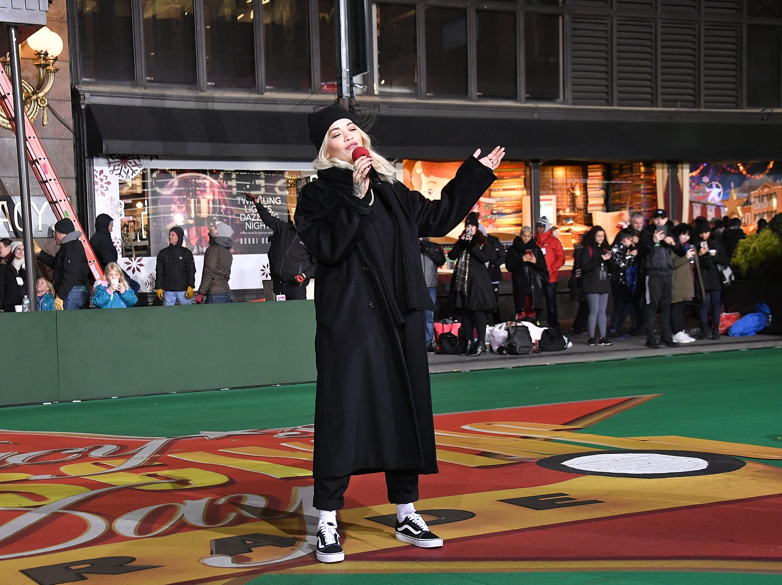 NEW YORK, NY - NOVEMBER 20:  Singer Rita Ora performs during the 92nd Annual Macy's Thanksgiving Day Parade day two of rehearsals on November 20, 2018 in New York City.  (Photo by Michael Loccisano/Getty Images)