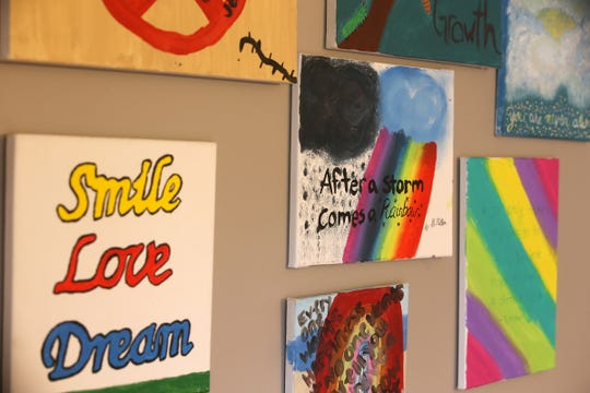 Detail of some of the art on the walls at the Collier Group Home in Red Bank, NJ Tuesday November 20, 2018.