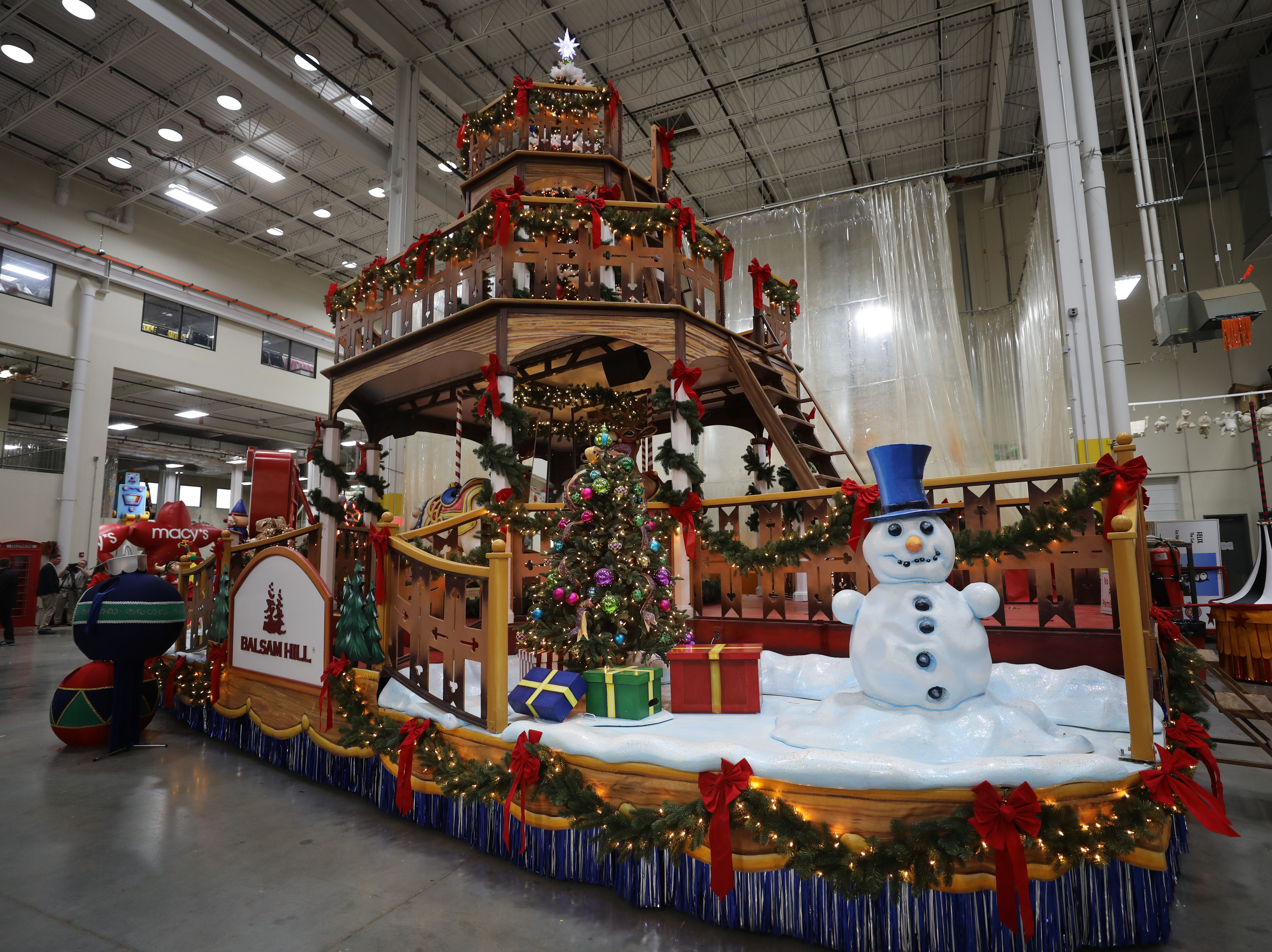"""Macy's unveils four new floats for this years Thanksgiving Day Parade in Moonachie, NJ Tuesday November 15, 2016. This is the new Balsam Hill """"Deck the Halls"""" float"""
