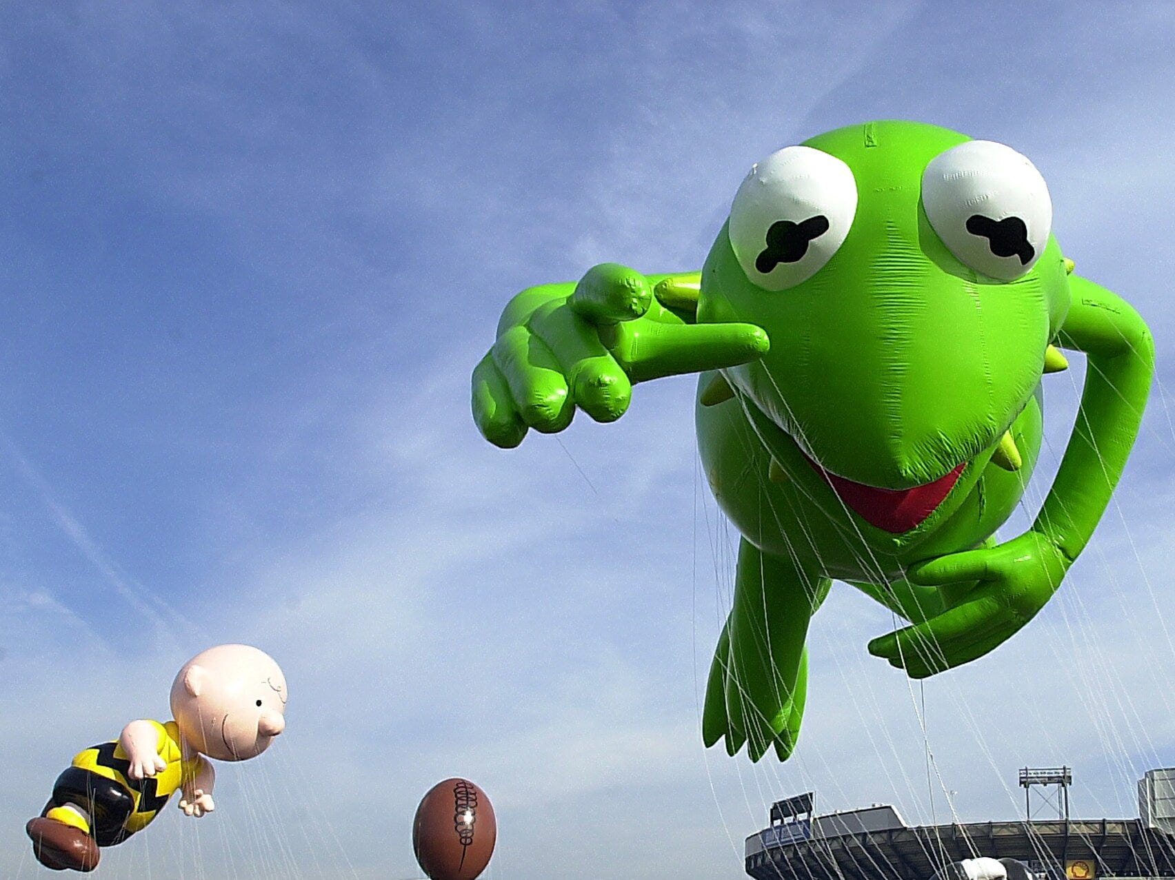 -  -Balloon handlers take the new Kermit the Frog and Charlie Brown balloons for a test flight at The Meadowlands Sports Complex in East Rutherford, NJ on Saturday, November 9, 2002. The balloonfest is held every year to give a trial run to new balloons before the Macy's Thanksgiving Day parade.(Rohanna Mertens for The Journal News11/09/02)