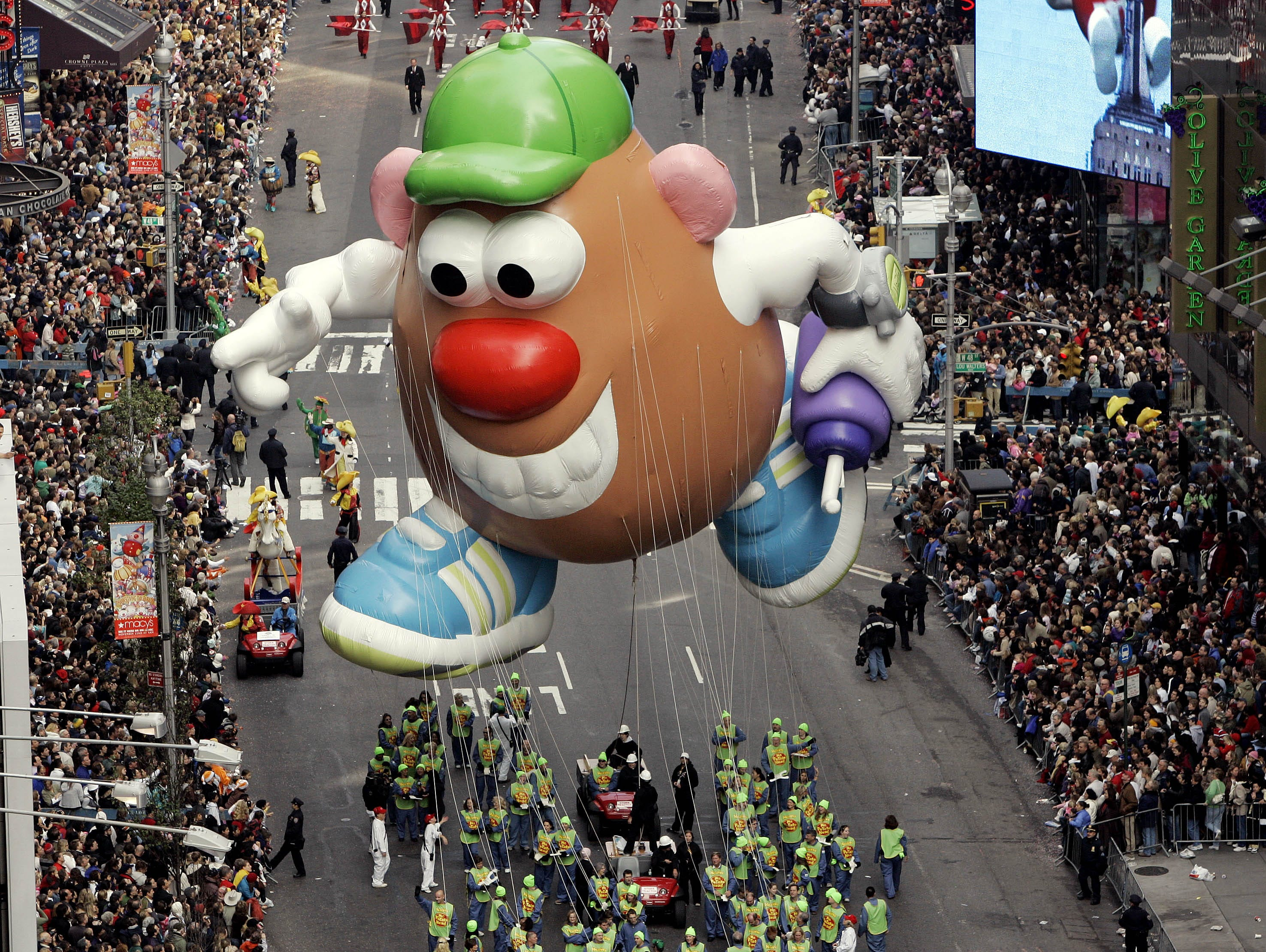 The Mr. Potato Head  balloon floats down Broadway during the Macy's Thanksgiving Day parade in New York, Thursday, Nov. 22, 2007. (AP Photo/Jeff Christensen)