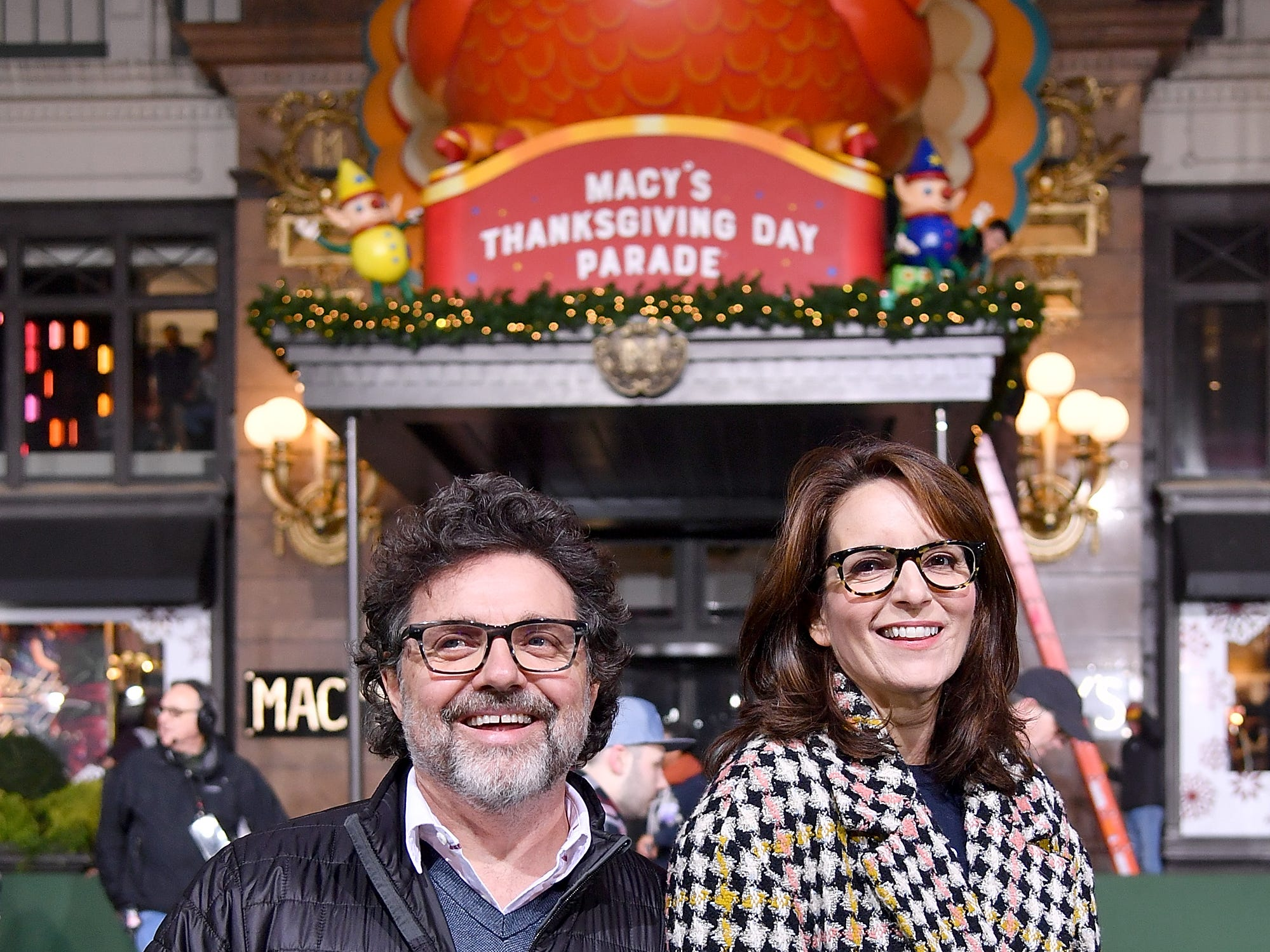NEW YORK, NY - NOVEMBER 19:  'Mean Girls' Broadway Play Composer Jeff Richmond and playwright Tina Fey attend the 92nd Annual Macy's Thanksgiving Day Parade rehearsals day one on November 19, 2018 in New York City.  (Photo by Michael Loccisano/Getty Images)