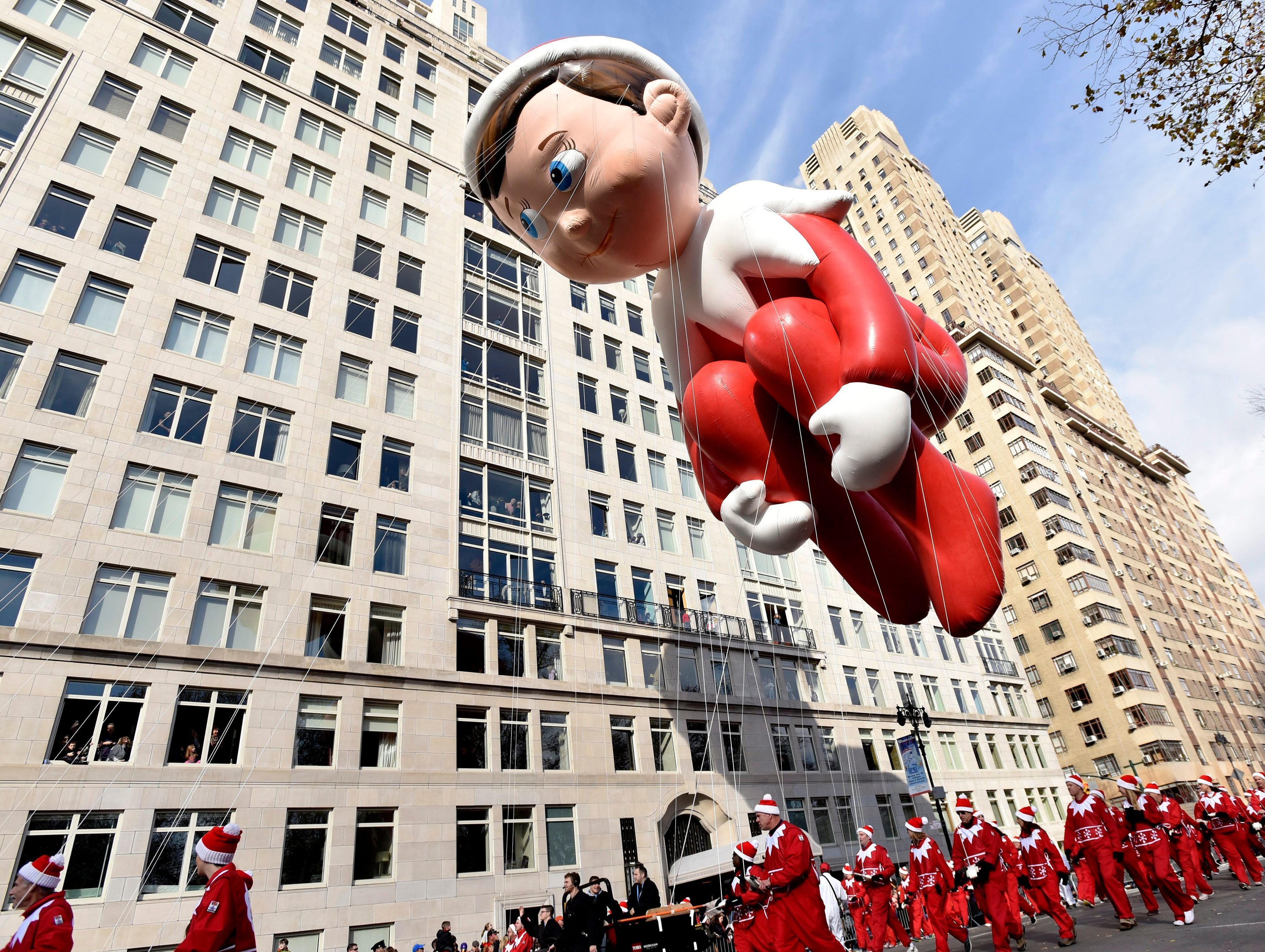 The Elf on the Shelf balloon during the 89th Macy?s Thanksgiving Day Parade in 2015.  PORTER BINKS/EPA The Elf on the Shelf balloon during the 89th Macy's 2015 Thanksgiving Day Parade.