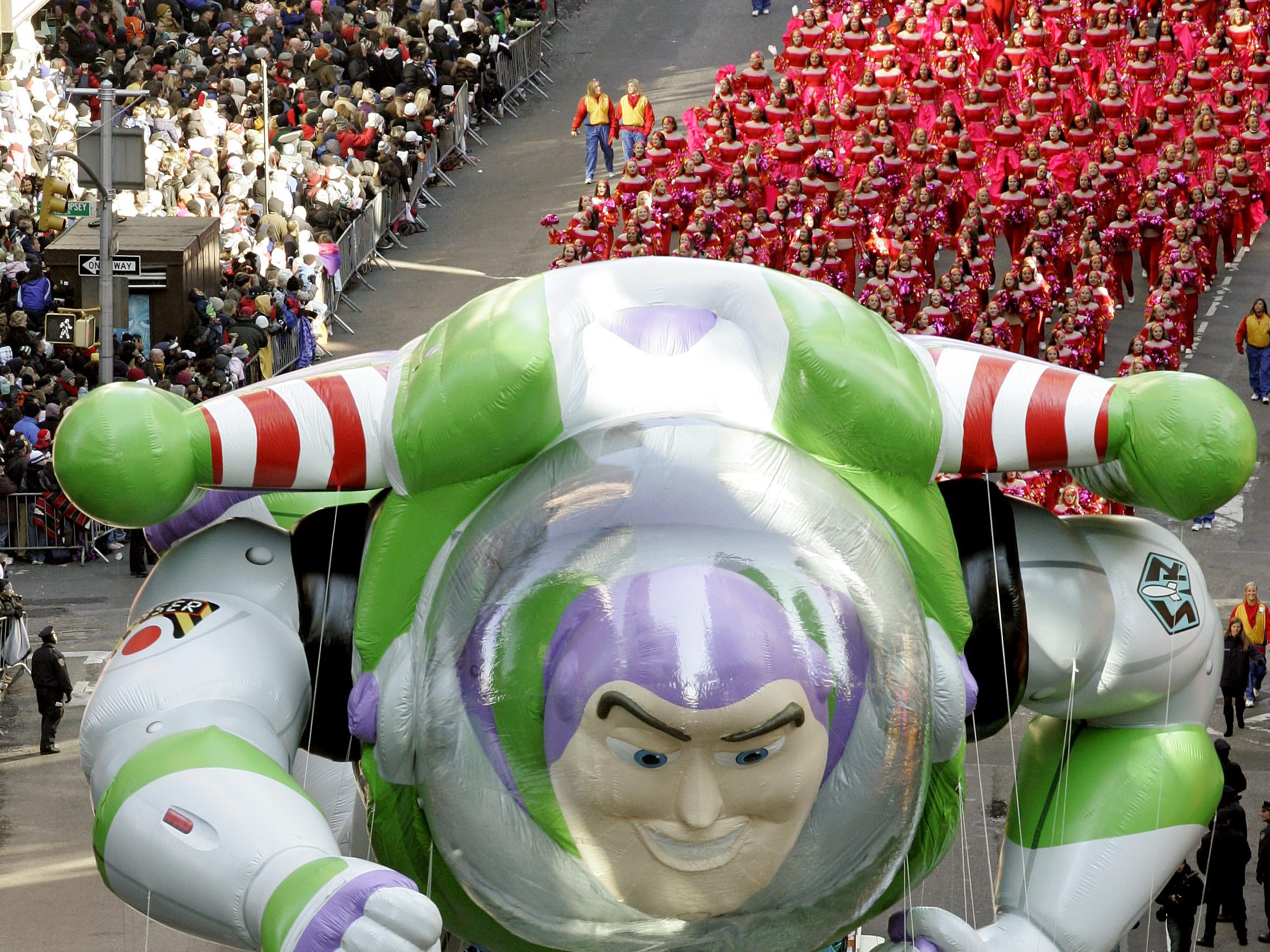 The Buzz Lightyear balloon floats down Broadway during the Macy's Thanksgiving Day parade in New York, Thursday, Nov. 27, 2008. (AP Photo/Jeff Christensen)