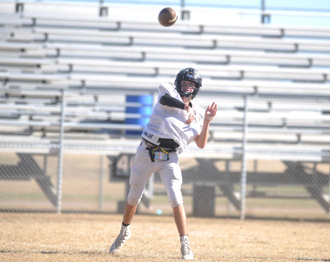 Haskell quarterback Cutter Medford releases a pass during practice Nov. 20, 2018. The Indians were preparing for a second-round playoff against Wheeler.