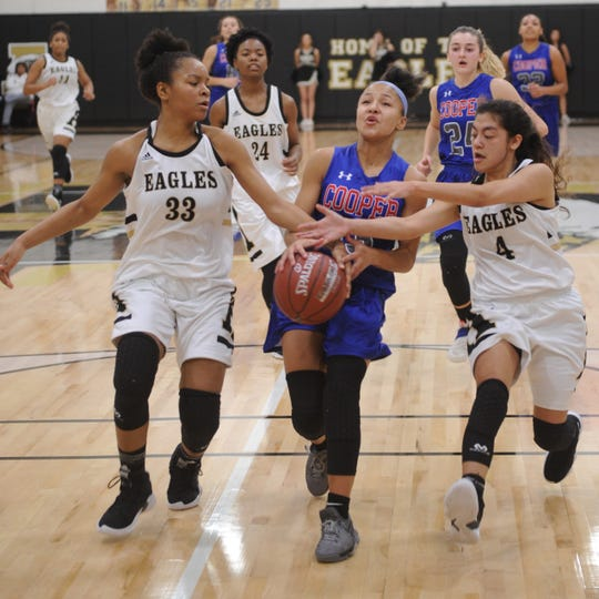 Cooper's Aziah Joe, center, is fouled as she drives to the basket against Abilene High's Tevyan Jones (33) and Emily Esquivel during the first half. AHS won the  game 38-38 on Tuesday, Nov. 20, 2018, at Eagle Gym.
