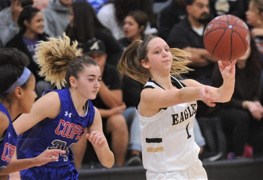 Abilene High's Calee Payne, right, passes the ball as  Cooper's Meri Tetaj defends. AHS won the  game 38-38 on Tuesday, Nov. 20, 2018, at Eagle Gym.