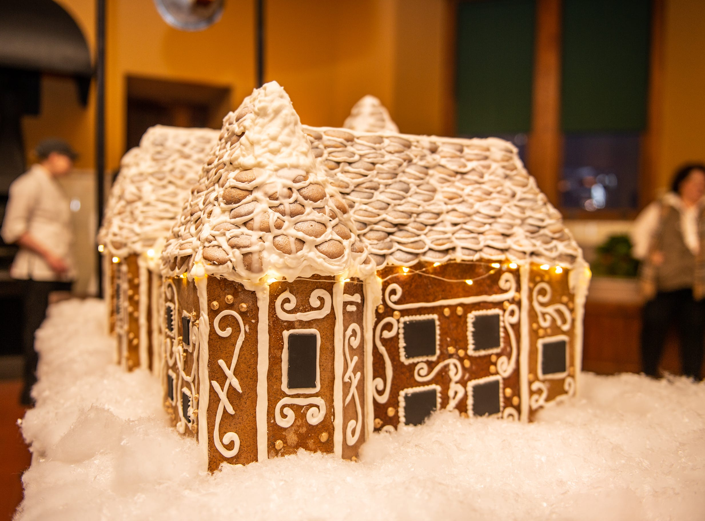The completed gingerbread house sits in the Biltmore Estate kitchen the morning of Nov. 2, 2018. Just the roof takes a full week to construct.