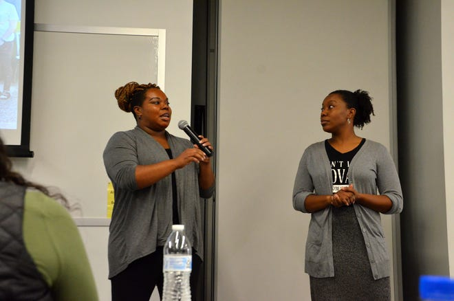 "Alisa Parker (left) and her sister Nicole founded Sisters in Business with their two other sisters. Sisters in Business is a Kalamazoo-based initiative looking to ""build ways for women of color to support, fund and resource their endeavors."""