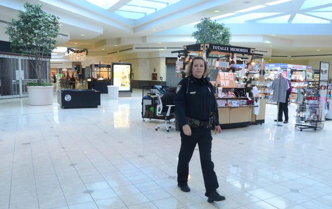 Lakeview Square wasn't busy Wednesday when Battle Creek Officer Julie Madsen walked through. She will be working on Friday when all the retail businesses expect big crowds.