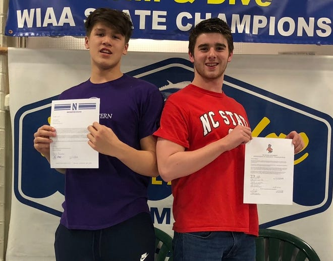 Bainbridge swimmers Kevin Houseman (left) and Garrett Waite recently signed national letters of intent to compete at the collegiate level next season. Houseman is headed to Northwestern and Waite is headed to North Carolina State.