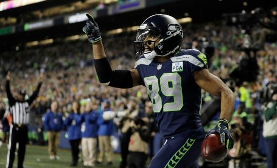 Seahawks wide receiver Doug Baldwin celebrates after catching a touchdown pass against the Green Bay Packers on Nov. 15.