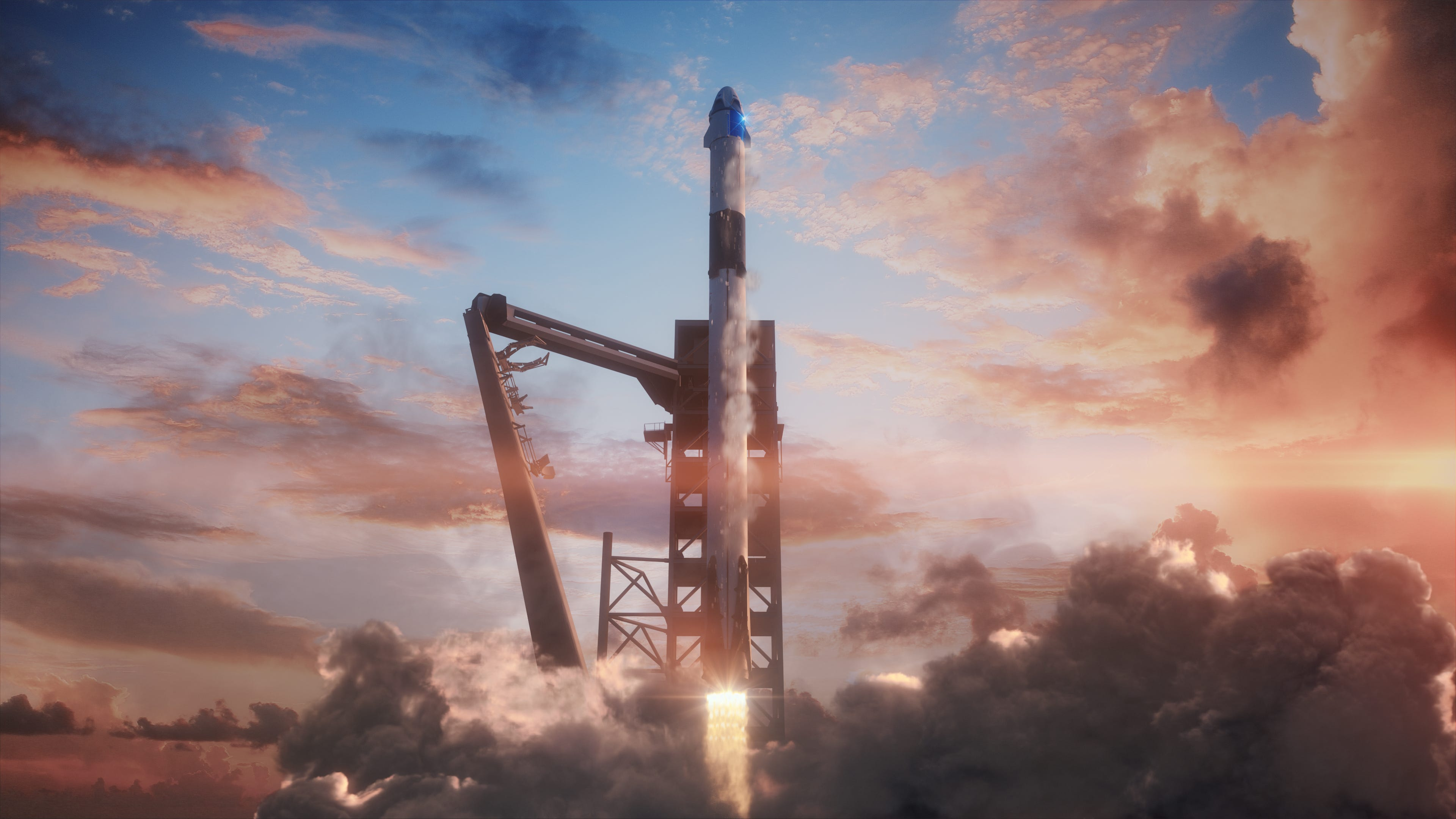 Illustration of SpaceX's Crew Dragon spacecraft launching atop a Falcon 9 rocket from Kennedy Space Center's pad 39A.