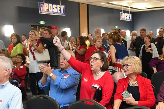 """Unlike the local Democrats, local Republicans had lots to celebrate at their election night """"victory party"""" at the Holiday Inn Melbourne-Viera Conference Center in Viera that was hosted by U.S. Rep. Bill Posey of Rockledge."""