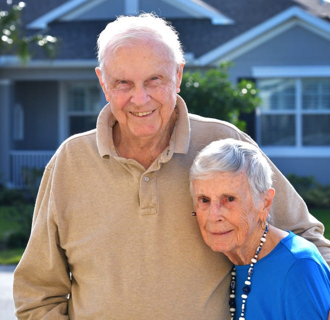 Charles and Emily Pearce, pictured in 2018, will celebrate their 77th wedding anniversary Nov. 26. The longtime Brevard County residents recently moved to North Carolina to be with family.