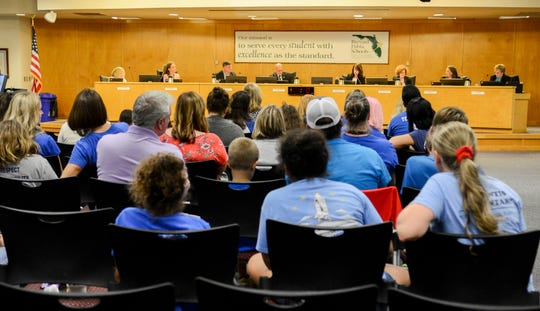 New and returning members of the Brevard County School Board begin their meeting Tuesday in Viera.