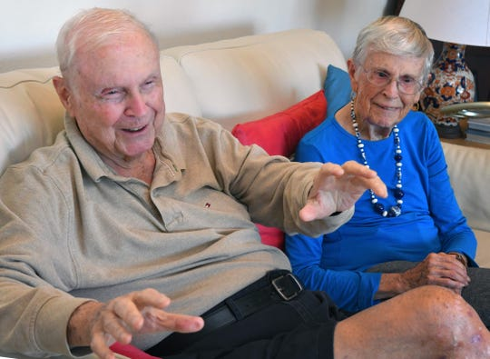 Charles and Emily Pearce, pictured at home in Viera, tell stories about how they met and about their 75 years as man and wife. The two took their wedding vows on Nov. 26, 1943, a day after Thanksgiving.