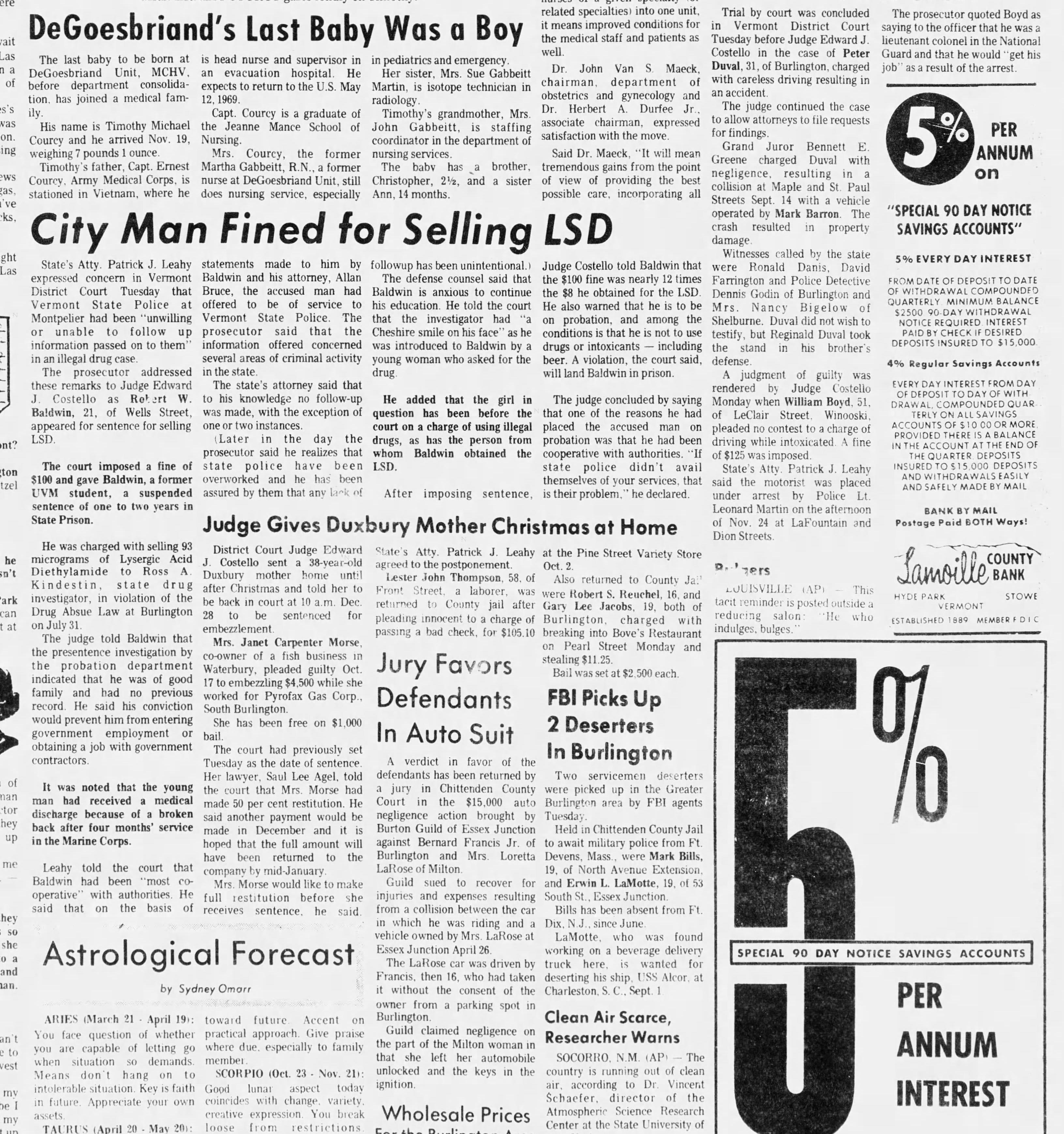 Burlington Free pRess Wed., Nov. 27, 1968.
