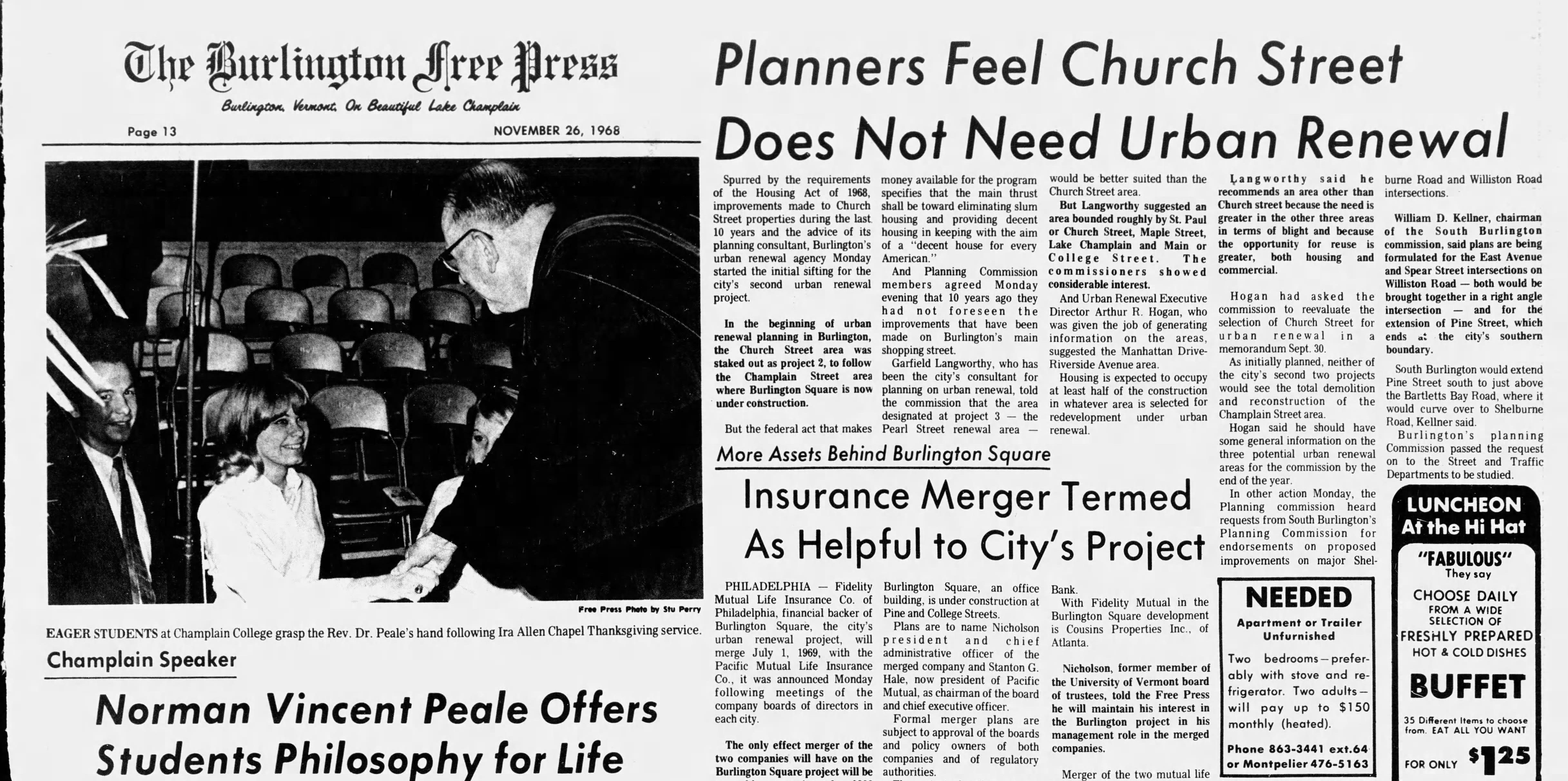 Burlington Free Press, Tues. Nov. 25, 1968.