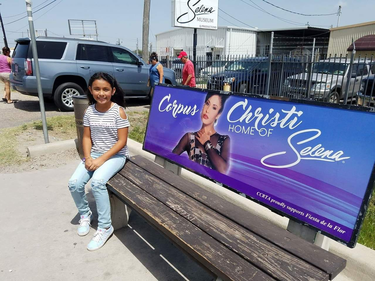 Mia Garcia sits outside the Selena Museum on July 24, 2017.
