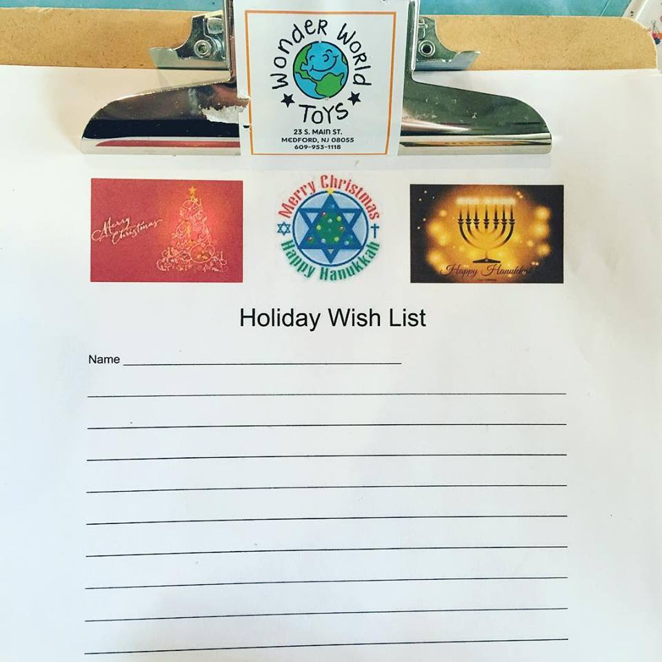 Kids are invited to fill out a wish list at Wonder World Toys in Medford.