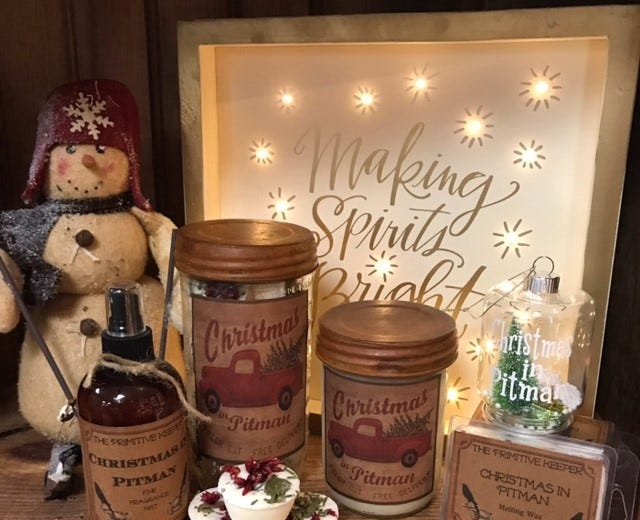 The pine-scented 'Christmas in Pitman' candle brings back memories for many shoppers, said Restored Antiquity owner Amanda Lampkin-Porto. The store will be among many in Pitman offering promotions for Small Business Saturday.