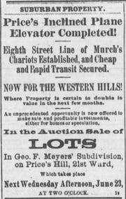"An ad in a June 1875 edition of The Enquirer touts a new incline bringing rapid transit to the ""Western Hills"""