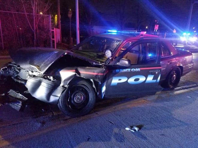 Police said a text driver caused a crash with a police cruiser Tuesday.