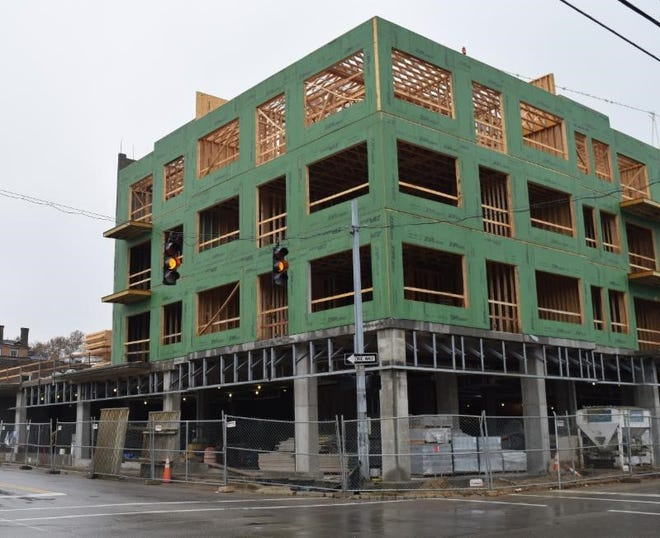 The first phase of the residential development of RiverHaus Apartments at Fifth and Main streets is scheduled to be finished in summer 2019.
