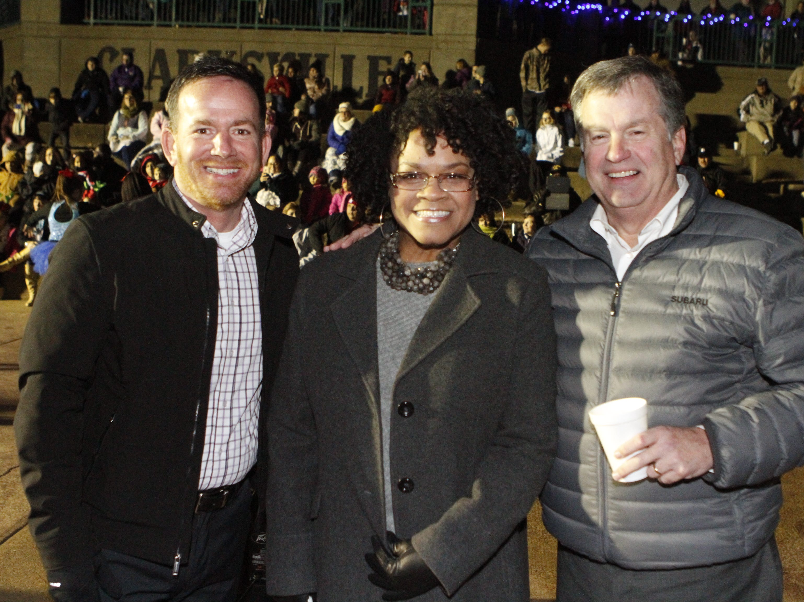 Anthony Daley, Clarksvile Mayor pro tem Valerie Guzman and Bill Powers at Christmas on the Cumberland Tuesday, Nov. 20, 2018.