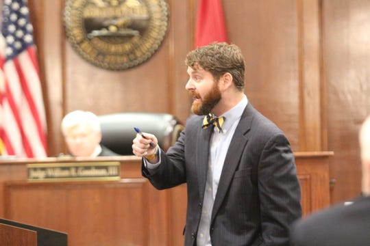 Assistant District Attorney Lee Willoughby gives closing arguments Wednesday in the trial of Samson Peltier.