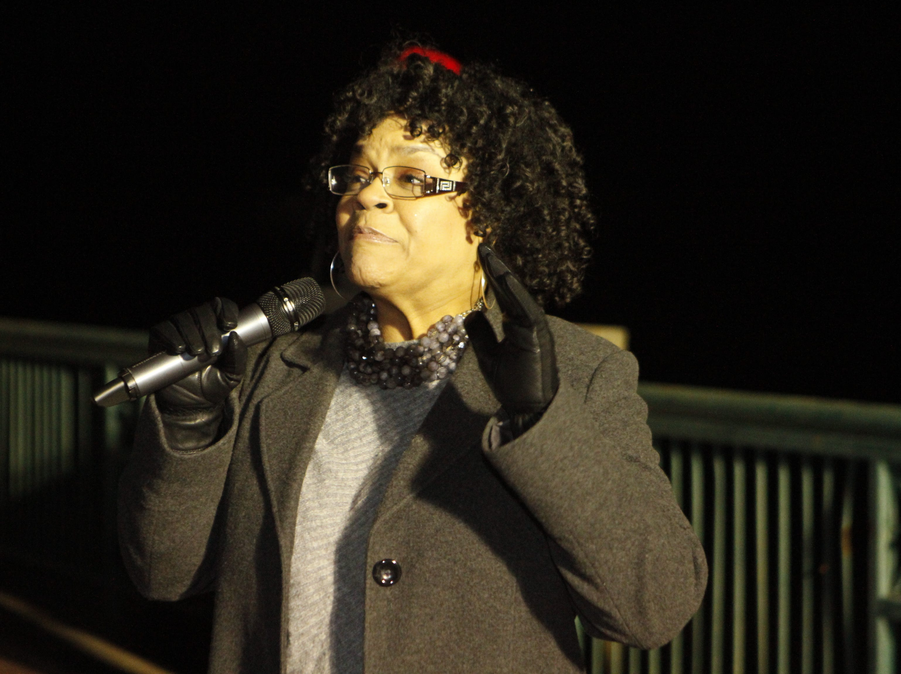 Mayor mayor pro tem Councilwoman Valerie Guzman prepares to flip the switch as the City of Clarksville kicked off its annual Christmas on the Cumberland Tuesday, Nov. 20, 2018, with over 2 million lights in the display.