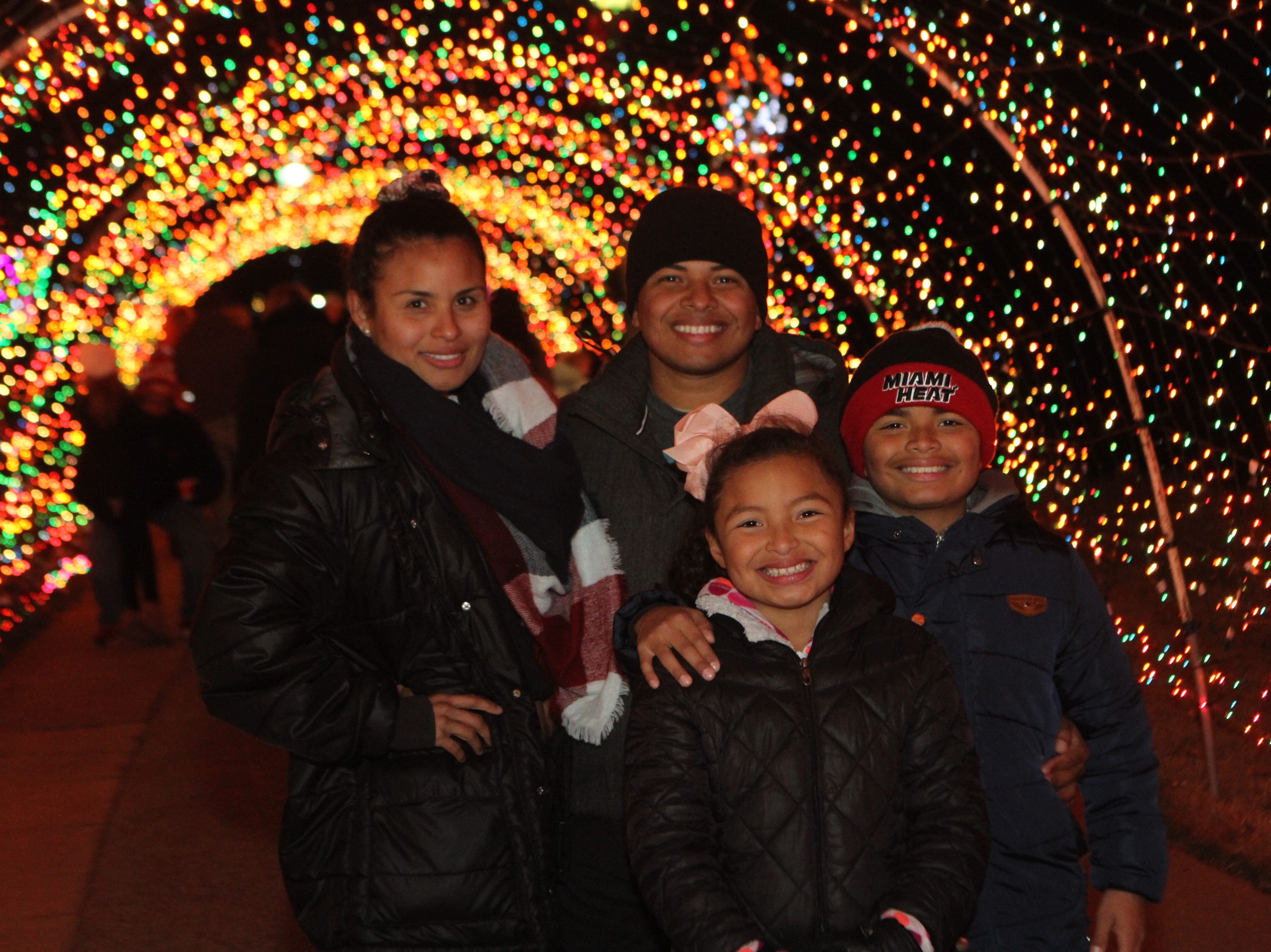 Jessica Aguirre, Walmaro, Lily and Xavier Mendoza at Christmas on the Cumberland Tuesday, Nov. 20, 2018.