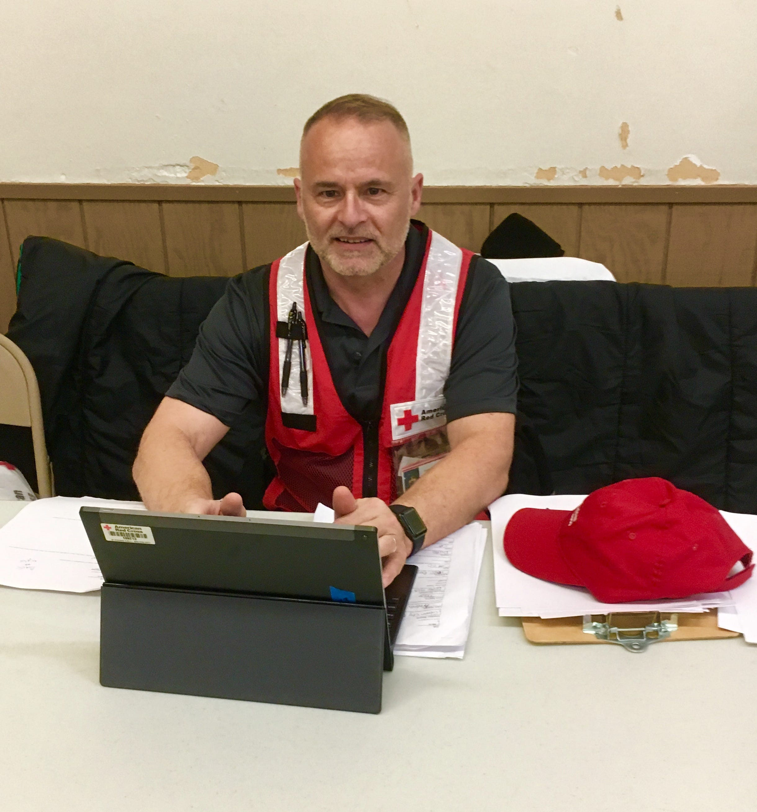 Phil Barletto, the disaster program manager with Clarksville's chapter of the Red Cross, works at a shelter in California set up for people displaced by the Camp Fire.