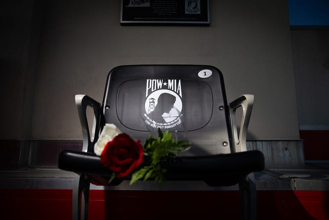 On Saturday, Nov. 17, during Austin Peay's Military Appreciation Football Game, the University officially dedicated a POW-MIA chair in Fortera Stadium.