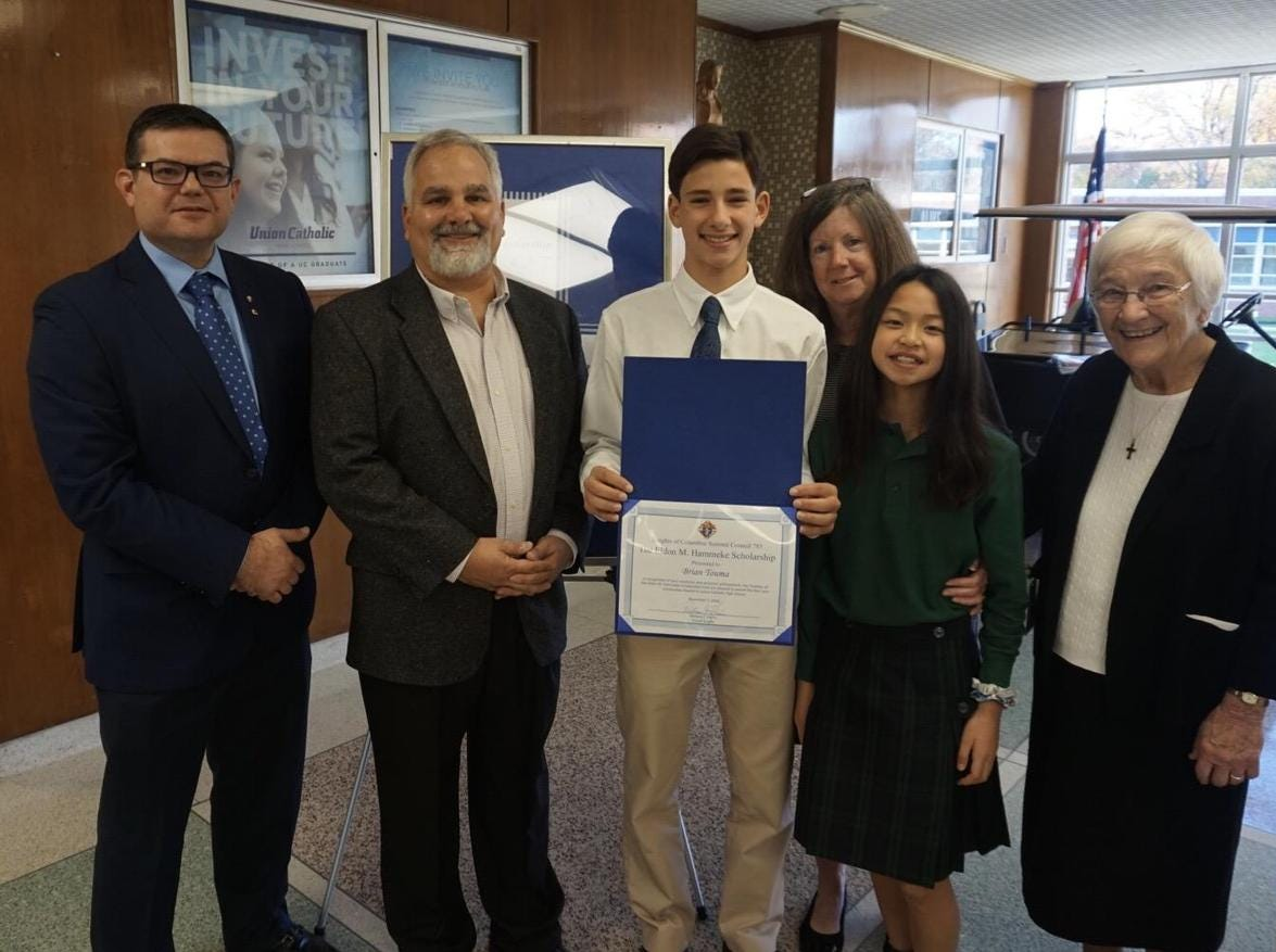 Brian Touma, Class of 2022 of Roselle Park receives the 2018 The Eldon M. Hammeke Scholarship
